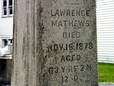 Lawrence Mathews gravestone