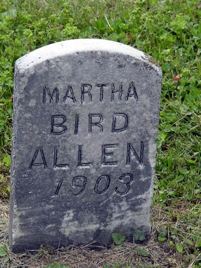 Martha Marie Bird Allen gravestone