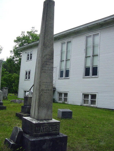 Mathews family gravestone monument and Baptist Church